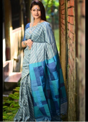 Blue Linen Festival Traditional Saree