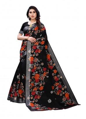 Linen Floral Print Black Saree
