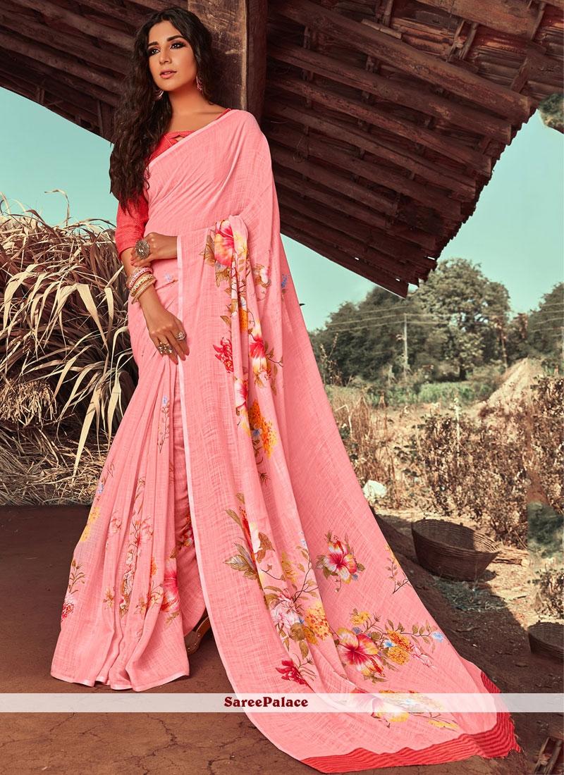 Linen Floral Print Classic Designer Saree in Pink