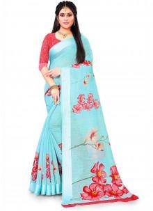 Linen Floral Print Saree in Aqua Blue