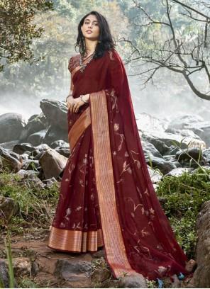 Linen Foil Print Classic Saree in Maroon