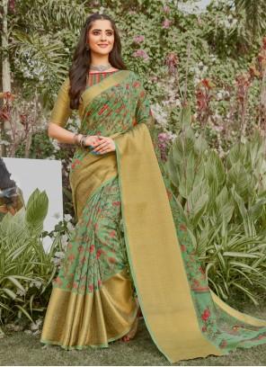 Digital Print Linen Green Printed Saree