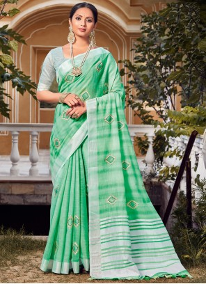 Linen Green Embroidered Traditional Saree