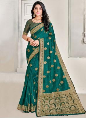 Linen Green Jacquard Work Classic Saree
