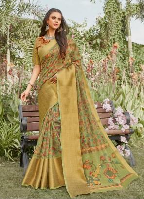 Linen Green Festival Printed Saree