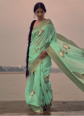 Linen Aqua Blue Weaving Classic Saree