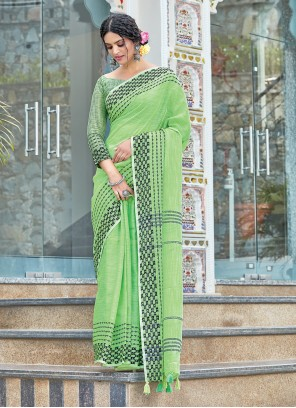 Linen Green Weaving Designer Traditional Saree