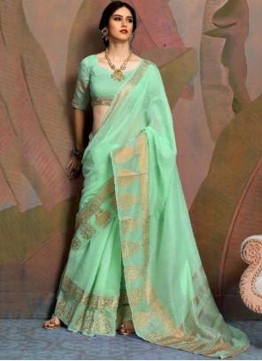 Linen Green Woven Classic Saree