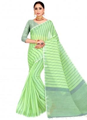 Linen Green Woven Work Saree