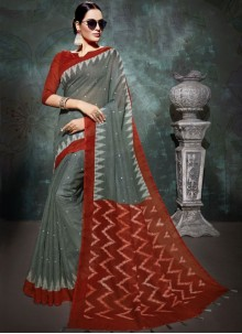 Linen Grey and Red Printed Saree