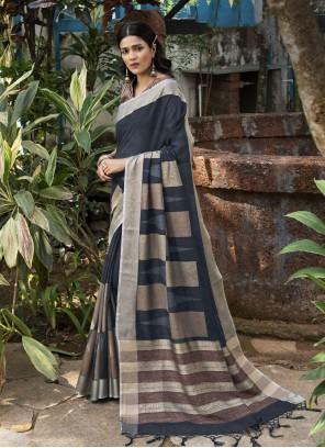 Linen Grey Traditional Designer Saree