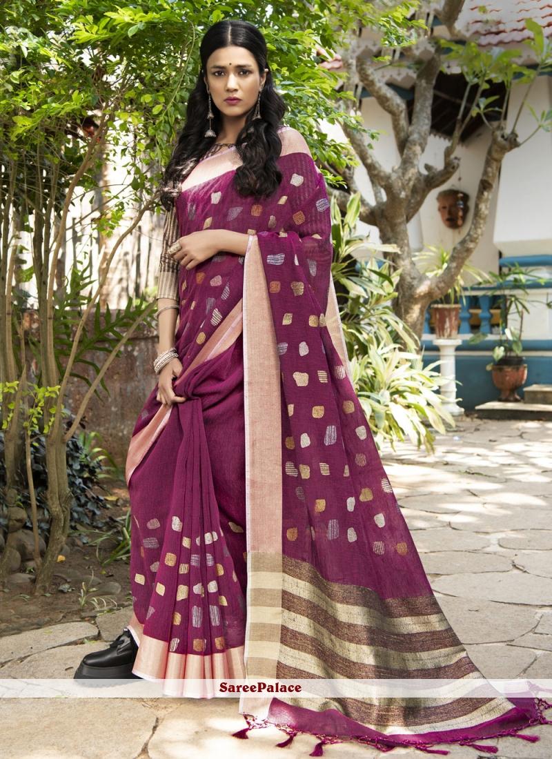 Linen Magenta Woven Designer Traditional Saree