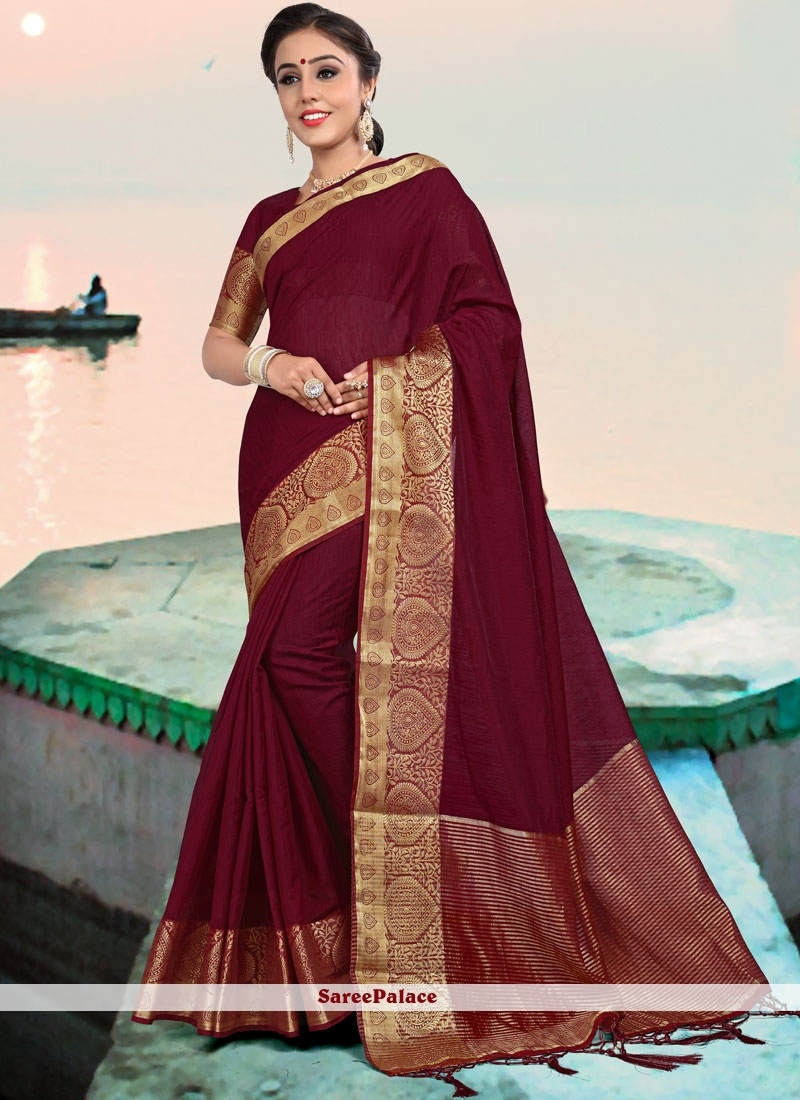 Linen Maroon Woven Designer Saree