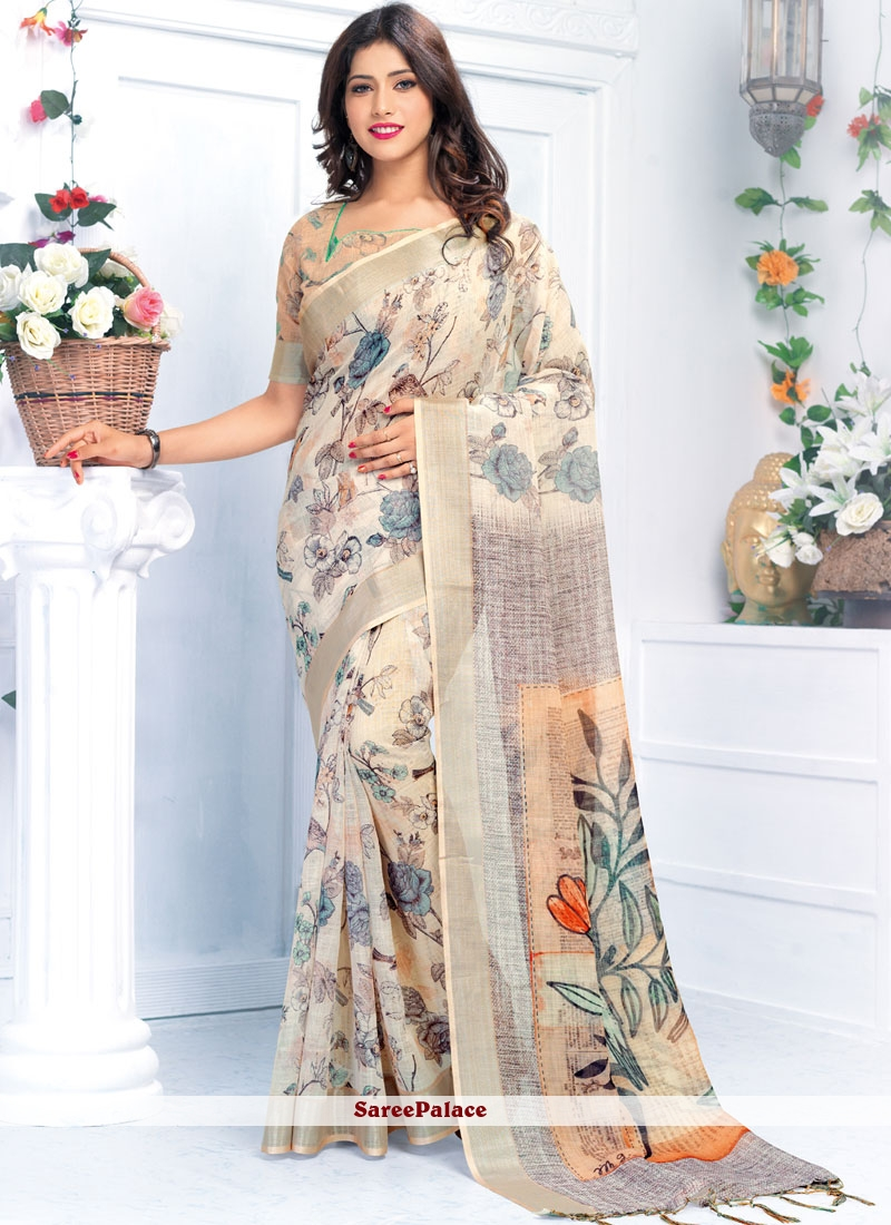 Linen Multi Colour Abstract Printed Saree