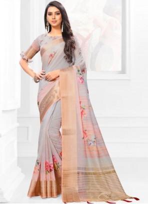 Linen Multi Colour Digital Print Casual Saree