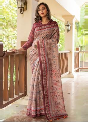 Linen Digital Print Multi Colour Printed Saree