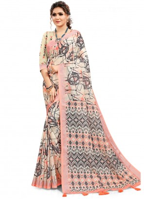 Linen Multi Colour Digital Printed Saree