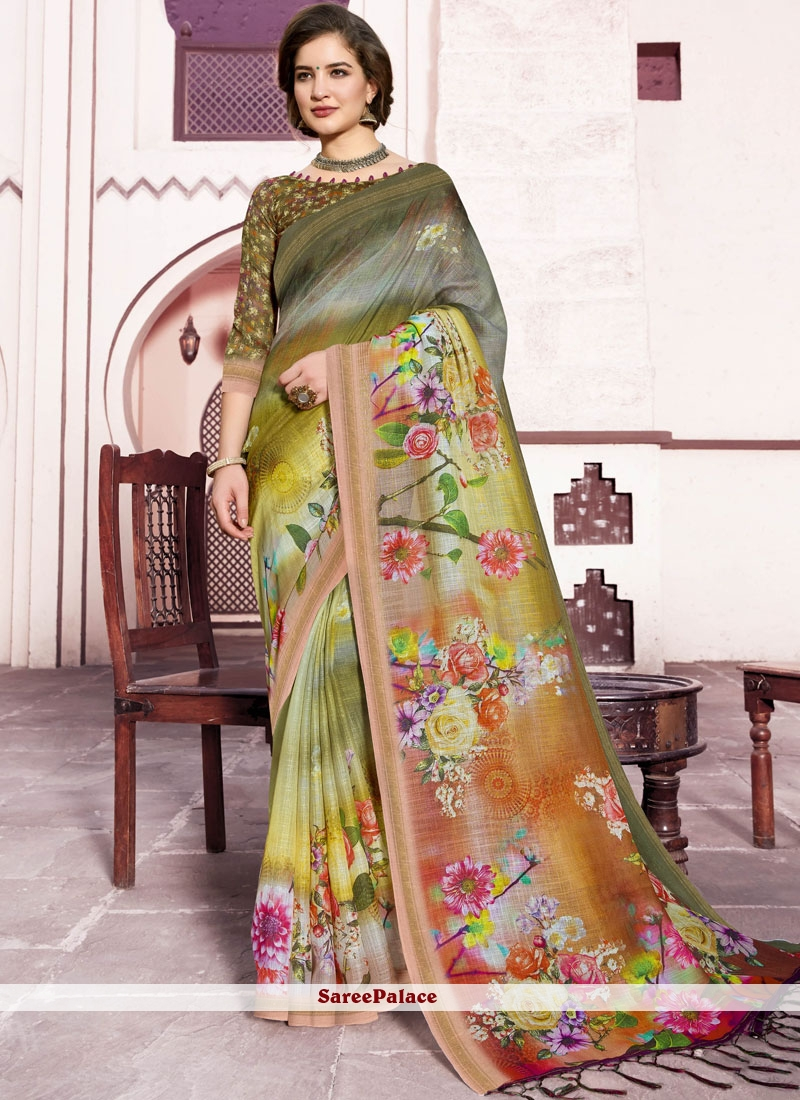 Linen Multi Colour Digital Print Trendy Saree