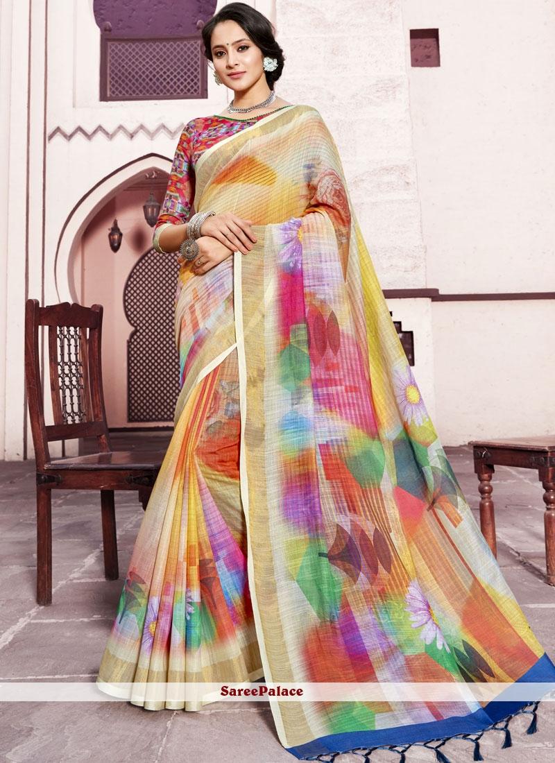 Linen Multi Colour Digital Print Trendy Saree
