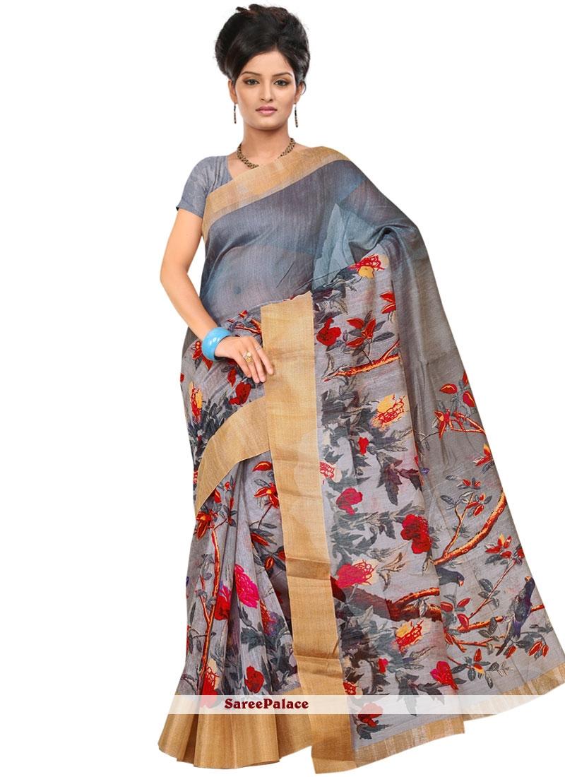 Linen Multi Colour Print Printed Saree