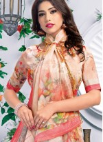 Linen Multi Colour Printed Saree