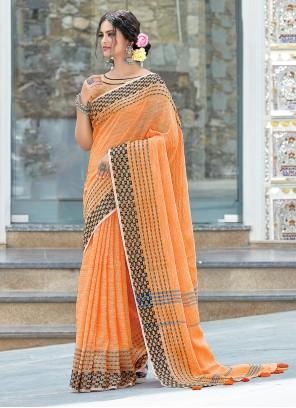 Linen Orange Weaving Designer Traditional Saree