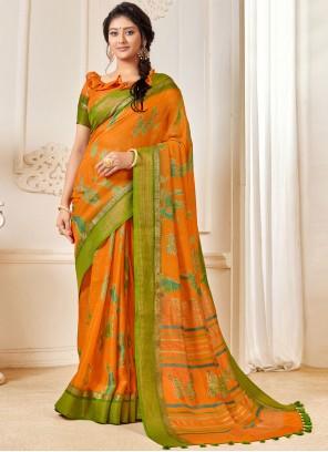 Linen Orange Woven Classic Saree