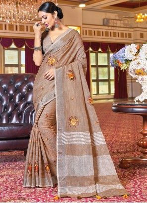 Brown Linen Party Traditional Saree