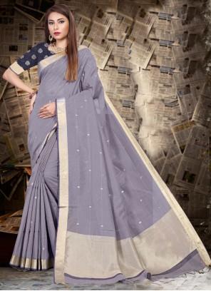 Linen Patch Border Grey Classic Saree