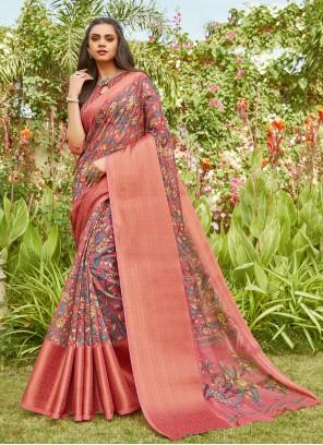 Linen Peach Printed Saree