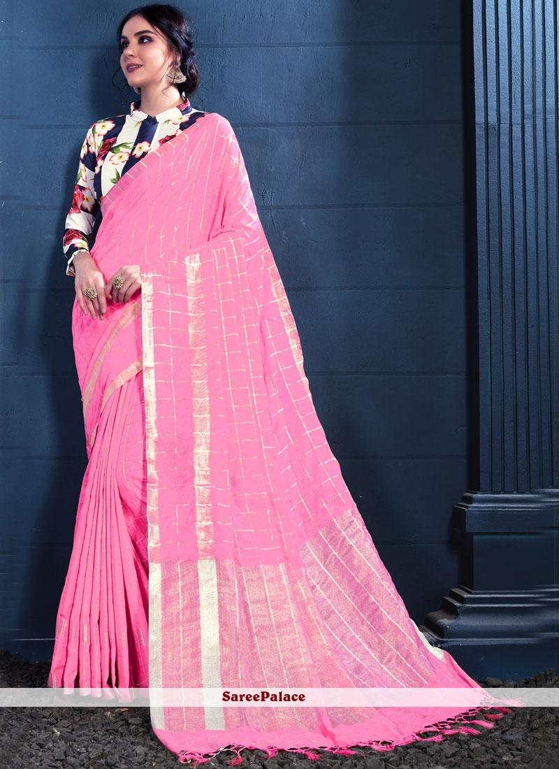 Linen Pink Print Trendy Saree