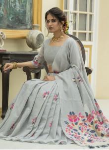 Linen Print Grey Classic Designer Saree