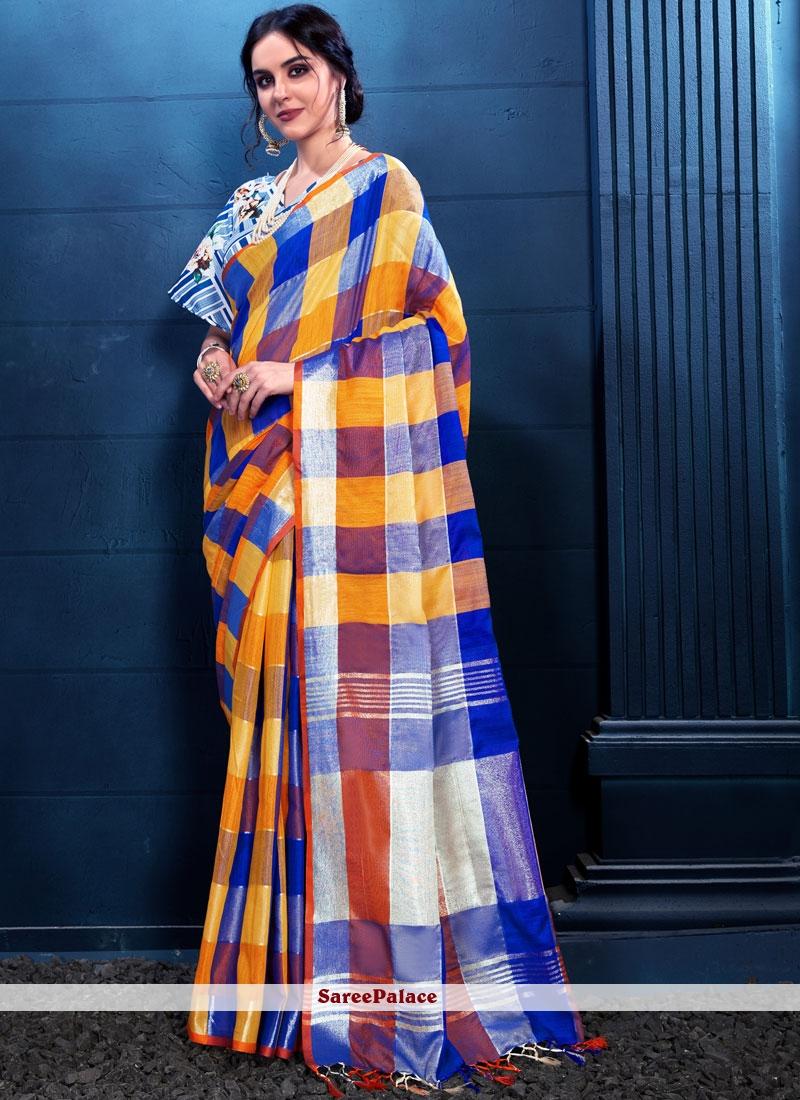 Linen Print Trendy Saree
