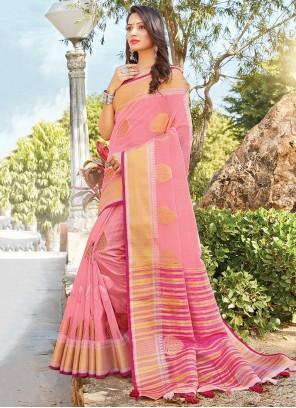 Linen Printed Pink Classic Saree