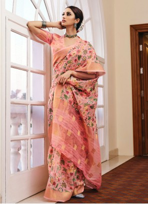 Pink Linen Printed Saree