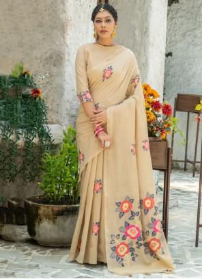 Linen Printed Saree in Beige