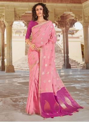 Linen Rose Pink Weaving Classic Saree