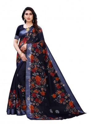 Navy Blue Floral Printed Linen Saree