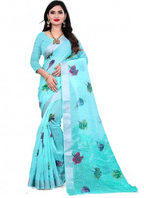 Linen Saree in Aqua Blue