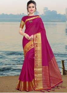 Linen Saree in Magenta