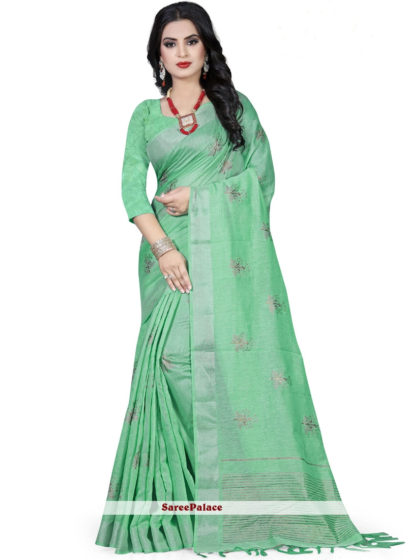 Linen Sea Green Foil print Classic Saree
