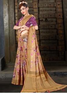 Brown Linen Traditional Saree