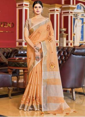 Peach Weaving Zari Work Linen Traditional Saree