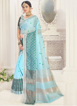 Linen Trendy Saree in Blue