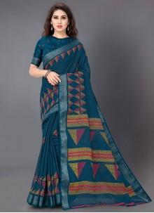 Linen Turquoise Printed Printed Saree