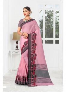 Linen Weaving Designer Saree in Pink