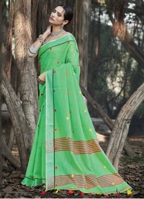 Linen Weaving Green Classic Designer Saree