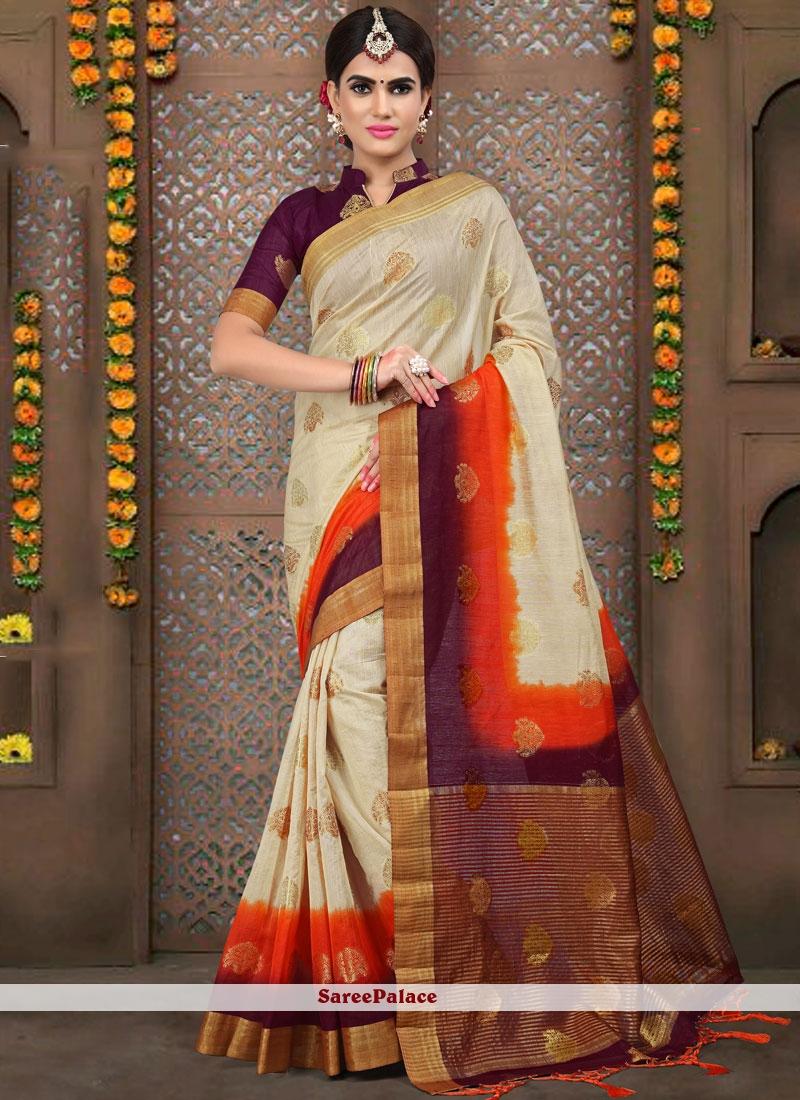 Linen Weaving Traditional Designer Saree in Cream