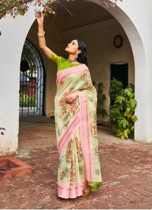 Linen Weaving Multi Colour Traditional Saree