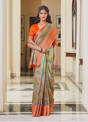 Linen Weaving Traditional Saree in Multi Colour